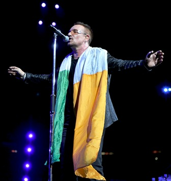 performs onstage during the U2 360 opener at the Camp Nou stadium on June 30, 2009 in Barcelona, Spain.